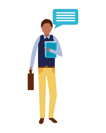 businessman speech bubble white background vector illustration