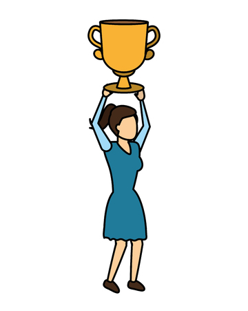 woman business trophy success prize vector illustration 向量圖像