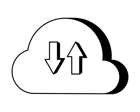 cloud computing data upload and download vector illustration