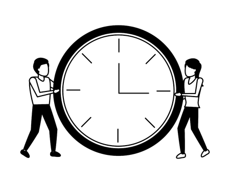 man and women with clock time vector illustration Illustration