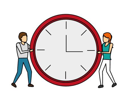 man and women with clock time vector illustration Illusztráció
