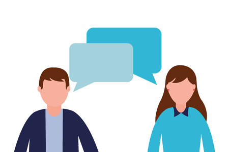 business man and woman talking vector illustration Banque d'images - 116897760