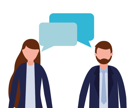 business man and woman talking vector illustration