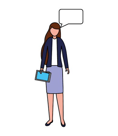 businesswoman speech bubble character female vector illustration