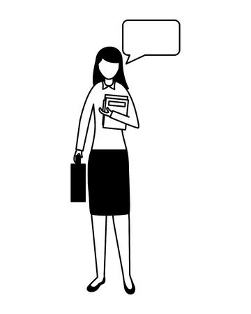 Businesswoman discours bulle personnage féminin vector illustration Vecteurs