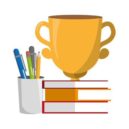 books stacked trophy and supplies vector illustration Stock Illustratie
