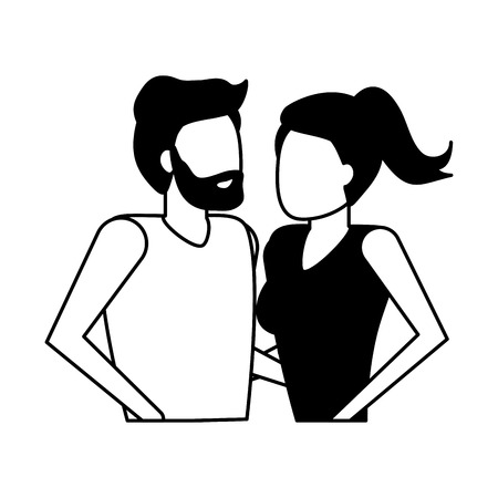 man and woman holding hands vector illustration