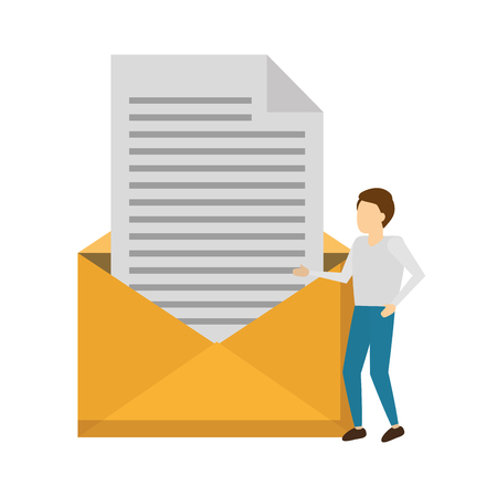 business man email envelope letter vector illustration