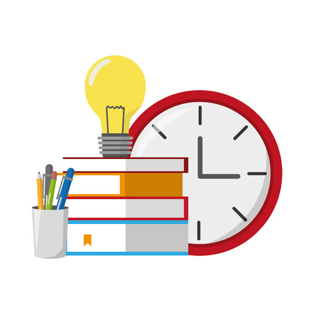books stacked bulb clock and penclis vector illustration