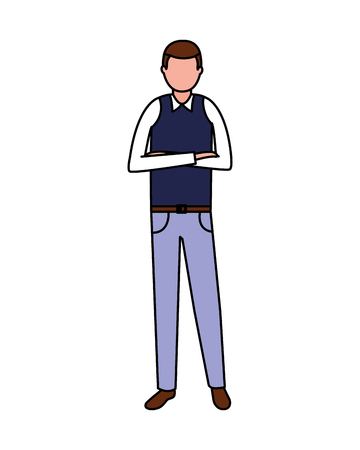 businessman male character on white background vector illustration Stock Vector - 125273299