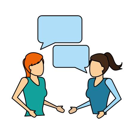 women portrait talking speech bubble vector illustration Illustration