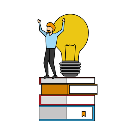 businessman books stack and bulb vector illustration Illustration