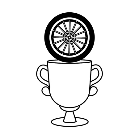 trophy wheel car on white background vector illustration