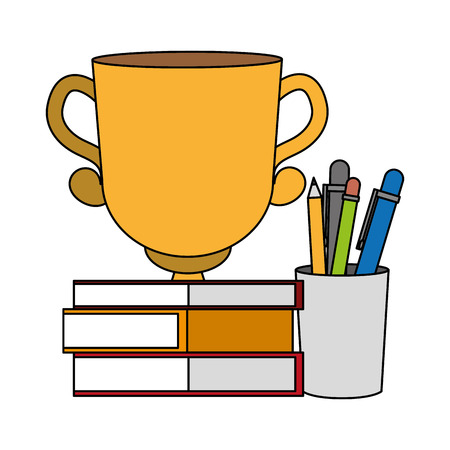 books stacked trophy and supplies vector illustration Stockfoto - 125273336
