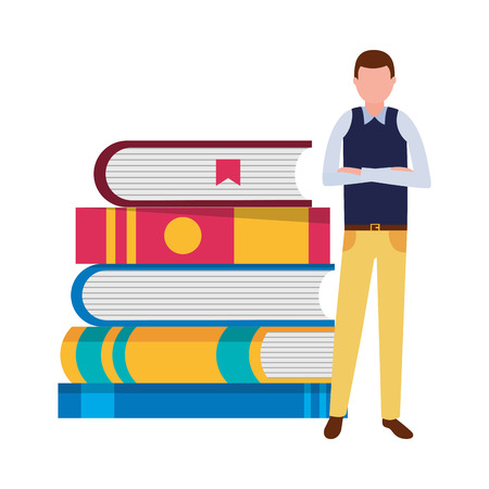 man with books stacked literature vector illustration Иллюстрация