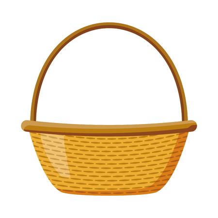 wicker basket picnic on white background vector illustration Illustration