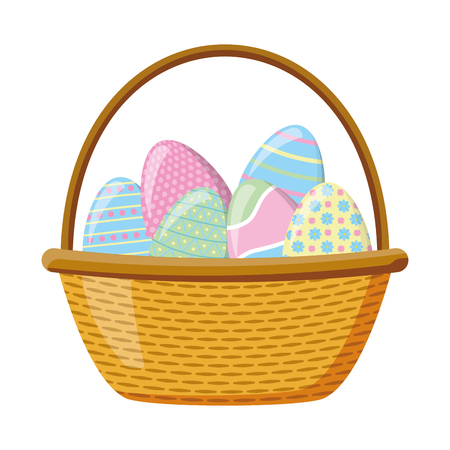 wicker basket happy easter eggs vector illustration 向量圖像