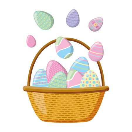 canasta de mimbre, feliz, pascua, huevos, vector, ilustración