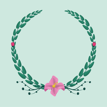 foliage nature leaves cute wreath flowers vector illustration