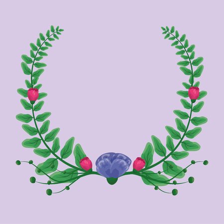 foliage nature leaves cute wreath flowers vector illustration Stock Vector - 116899420