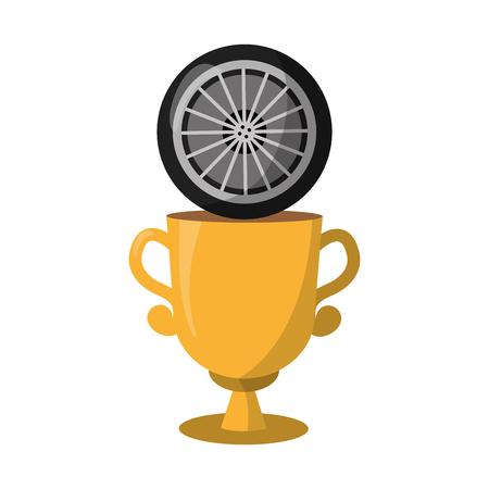trophy wheel car on white background vector illustration