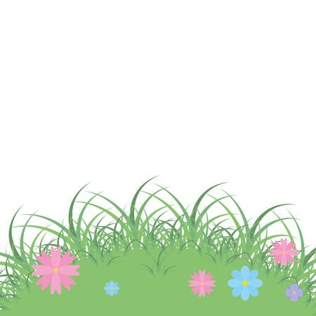 landscape grass with flowers nature vector illustration Illustration