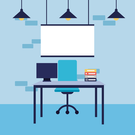 office workplace desk chair laptop board vector illustration