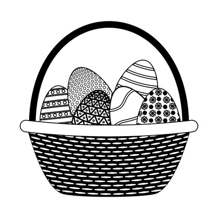 wicker basket happy easter eggs vector illustration  イラスト・ベクター素材