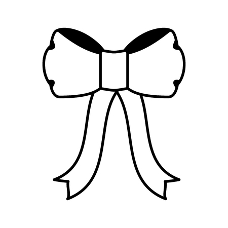 cute bow ribbon decoration on white background vector illustration