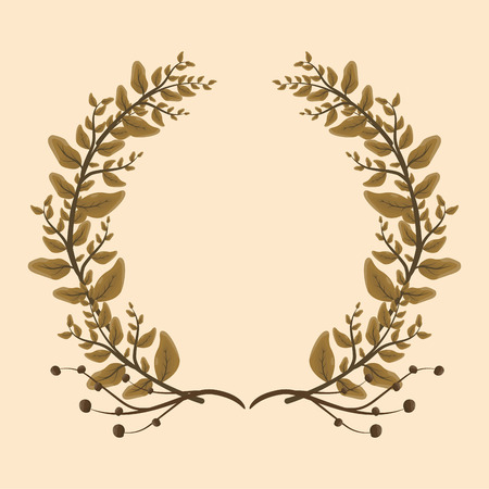 foliage nature leaves cute wreath flowers vector illustration