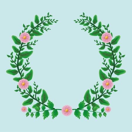 foliage nature leaves cute wreath flowers vector illustration 스톡 콘텐츠 - 116899465