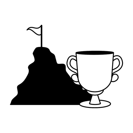 business trophy and mountain with flag vector illustration