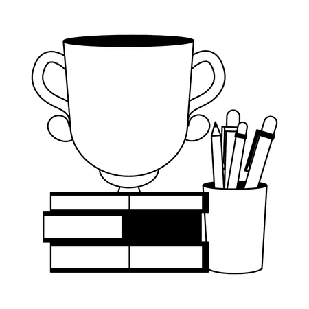 books stacked trophy and supplies vector illustration Illustration
