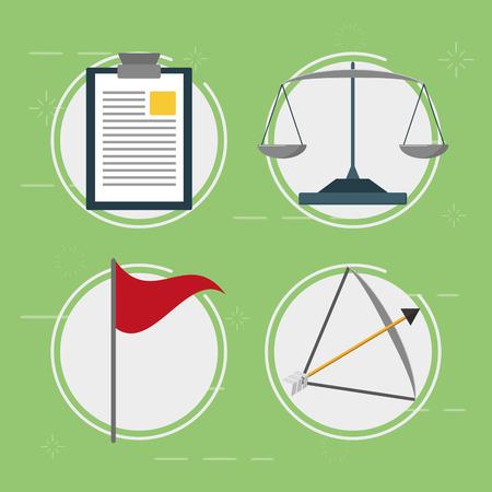 business balance bow arrow flag report vector illustration Illustration