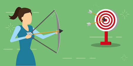 business woman with bow arrow and target vector illustration
