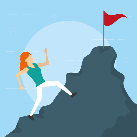 business woman climbing mountain flag vector illustration Ilustração