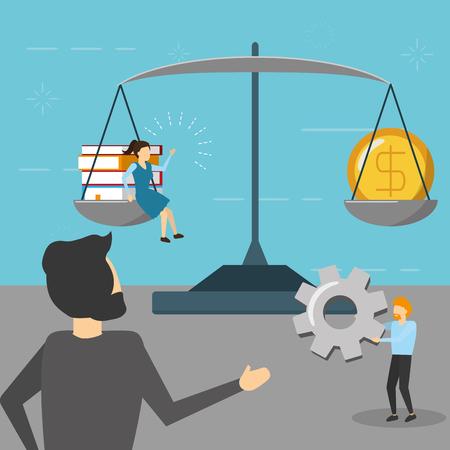 business people success balance money gear books vector illustration