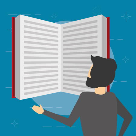 business man reading a book vector illustration