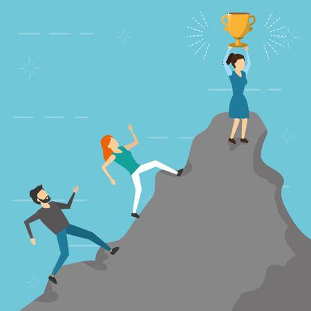 business people climbing mountain trophy vector illustration Illusztráció