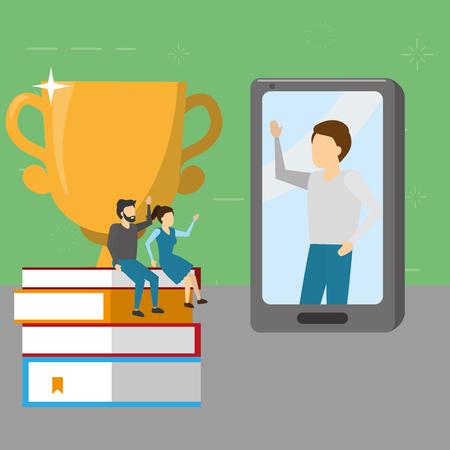 people books mobile trophy success vector illustration 일러스트