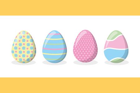 happy easter delicate eggs ornament set vector illustration
