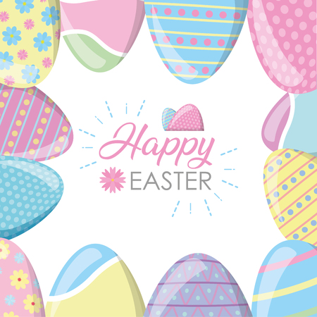 happy easter decoration painting eggs vector illustration