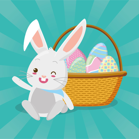 cute rabbit with filled basket eggs easter  vector illustration Ilustração