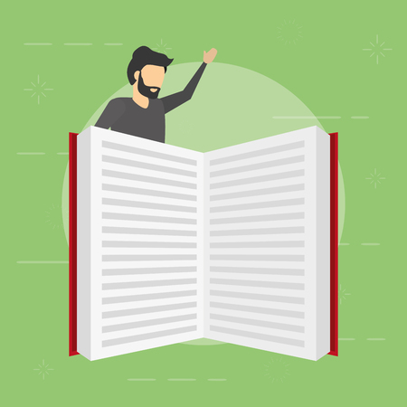 businessman with big open book vector illustration