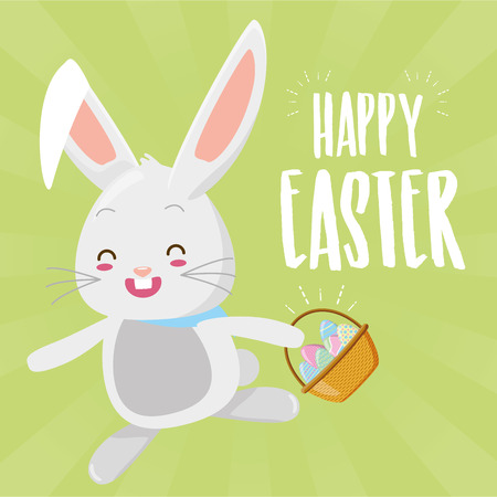 cute rabbit with filled basket eggs easter  vector illustration Ilustrace