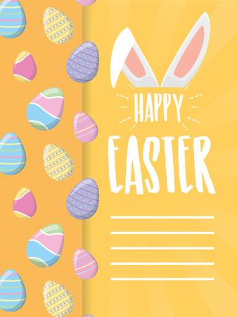 happy easter lettering rabbit ears eggs  vector illustration