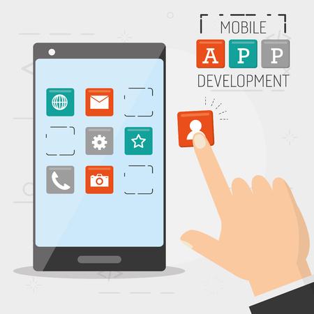 hand with cellphone selecting mobile app development vector illustration Stock Illustratie