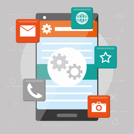 mobile app development cellphone tools vector illustration