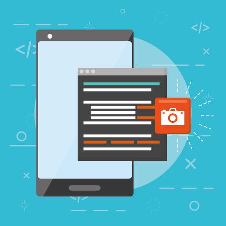 mobile app development cellphone data tool vector illustration Ilustrace