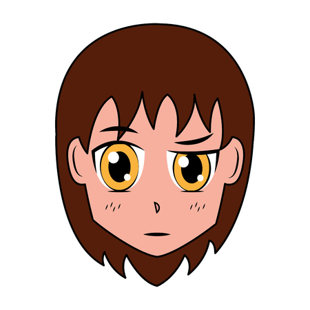 face girl anime manga comic vector illustration Illustration
